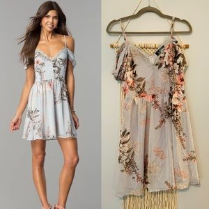 Lulu's Cold Shoulder Floral Lace Mini Dress